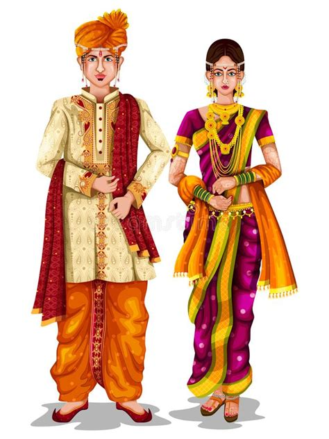 maharashtrian wedding couple  traditional costume
