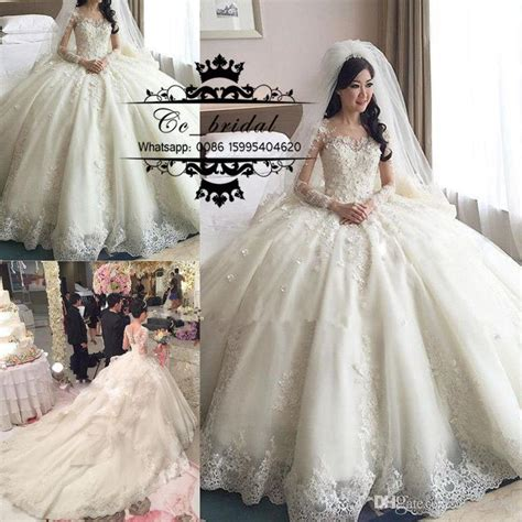 luxury princess ball gown lace wedding dresses