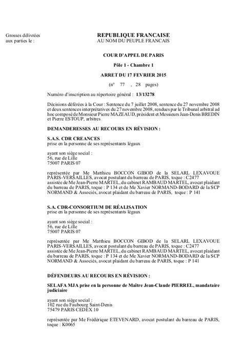 chambre sociale cour d appel cour d 39 appel de 17 fe vrier 2015 cdr tapie