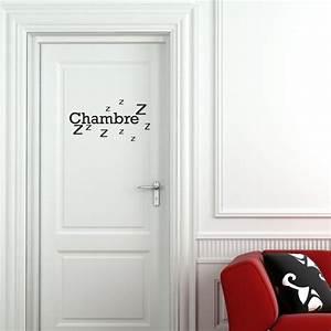 Sticker porte Chambre Zzz stickers citation & texte opensticker