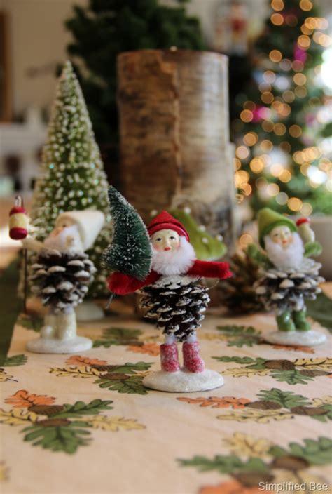 pine cones santa christmas tables sets pinecone elves