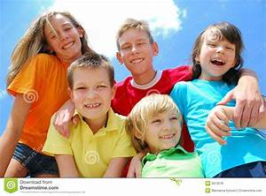 Friendly group of children stock photo. Image of child ...