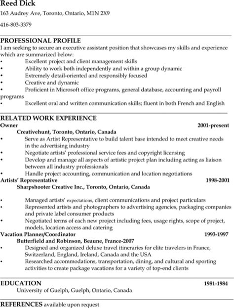 Exle Executive Assistant Resume by Assistant Resume Sle For Excel Pdf And Word