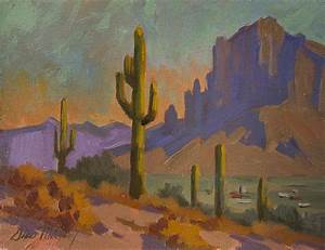 Saguaro Cactus And Apache Junction Painting by Diane McClary