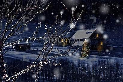 Cabin Snowing Winter Gifs Scene Snow Snowy