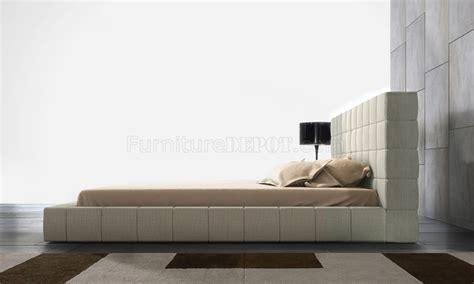 md thompson beige leather bed modloft