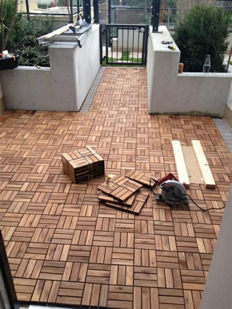 Wood Tiles Laying ? Hardwood Floors On The Balcony ? Fresh