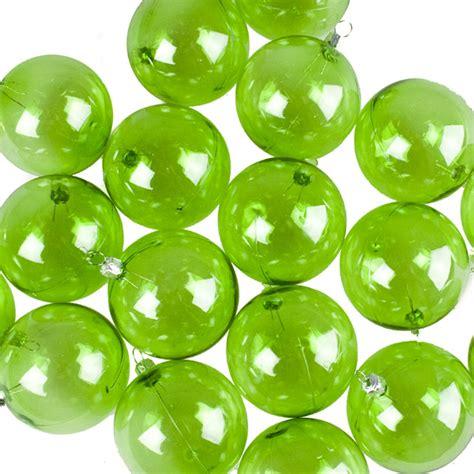 lime green tinted transparent shatterproof baubles pack