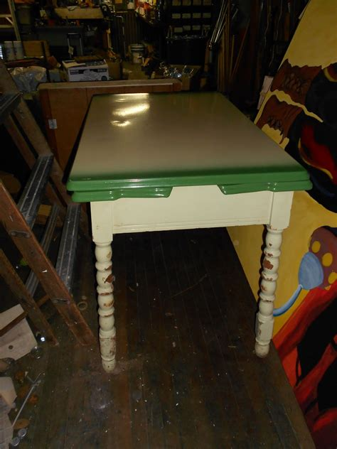 metal top table vintage vintage retro metal top green kitchen table with fold 7477