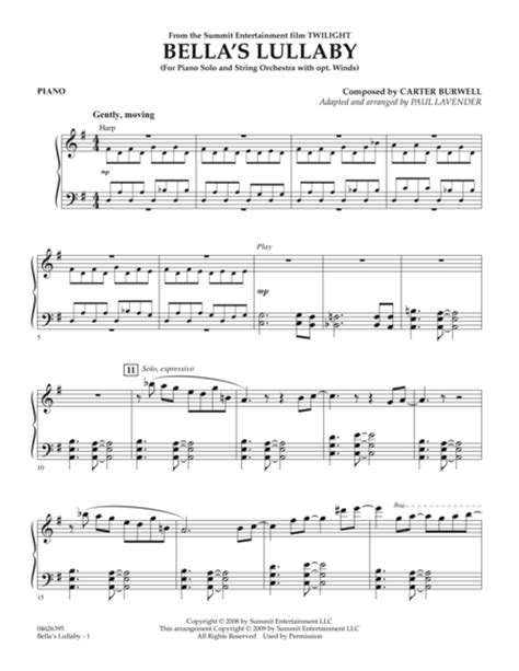 download bella s lullaby from quot twilight quot piano sheet