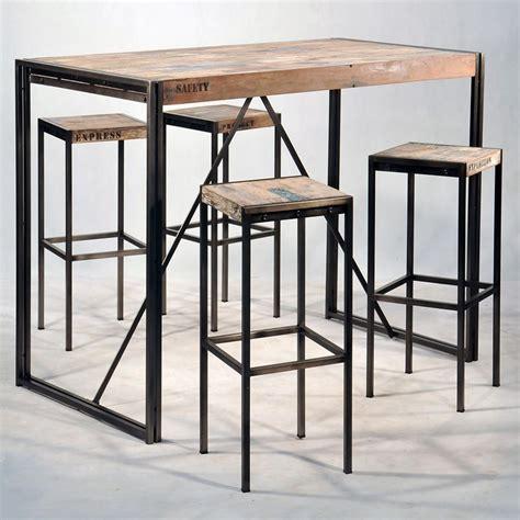 bureau contemporain bois mange debout industriel en fer et de bois pas cher