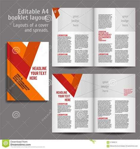 booklet template free a4 book layout design template stock vector illustration of layout album 57980616