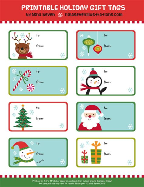 nina seven free printable holiday gift tags