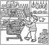 Coloring Grocery Pages Market Printable Kleurplaat Shopping Colouring Supermarket Sheets Supermarkt Thema Getcolorings Kleurplaten Toy Getdrawings Shops Colorings Popular Vile sketch template