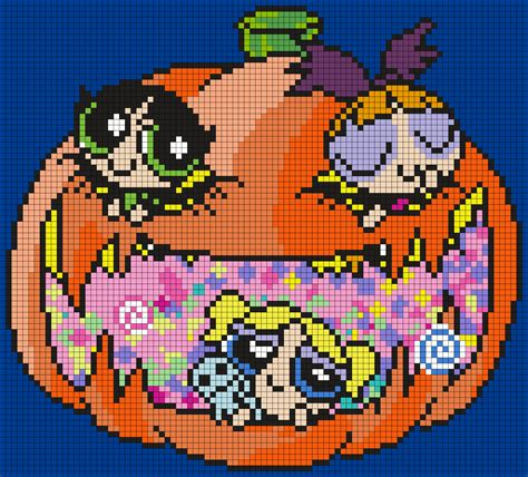 Halloween Perler Bead Projects by Halloween Powerpuff Girls Poster Square Perler Bead