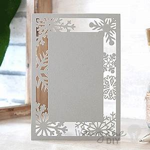 Snowflake silver invitation imagine diy for Blank laser cut wedding invitations uk
