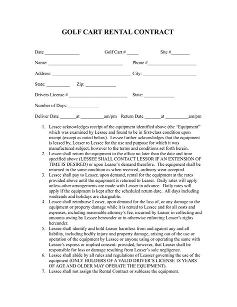 golf contract forms