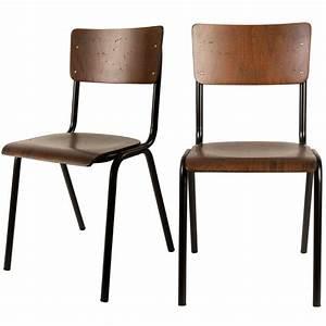 Chaise Vintage Bois : 2x chaises vintage m tal bois scuola par ~ Teatrodelosmanantiales.com Idées de Décoration