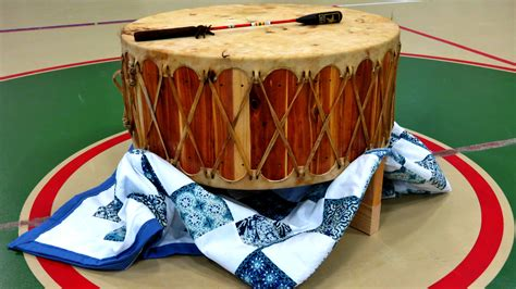 native american drum celebrated   school ceremony