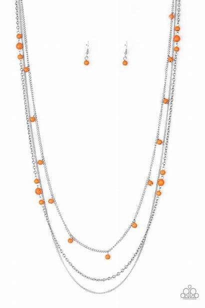 Orange Laying Groundwork Paparazzi Necklace Earr Jewelry