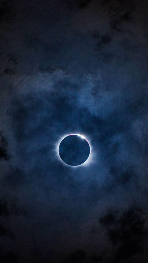 eclipse sky moon clouds wallpaper