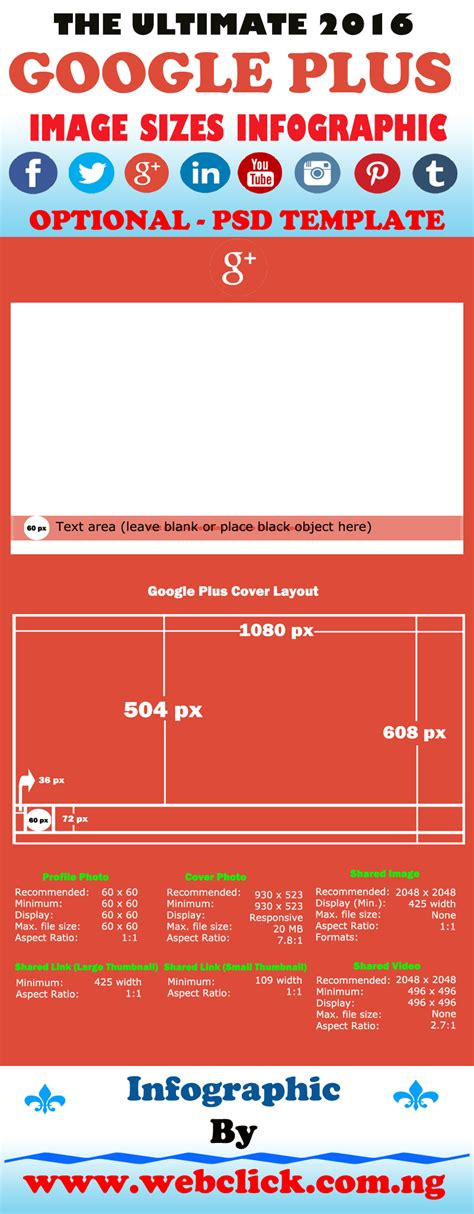 Google Cover Photo Size by The New 2016 Google Plus Cover Photo Size Infographic