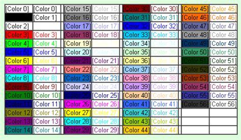 excel vba color index excel 2003 2007 colorindex 56 excel colors colors56