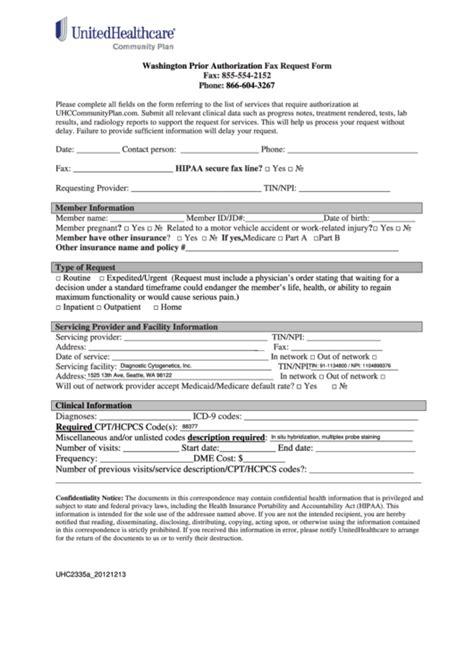 fillable washington prior authorization fax request form