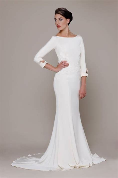 boat neck wedding dresses  long sleeves