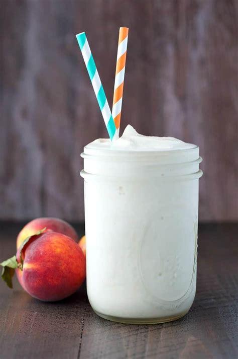 Peaches Cream Protein Smoothie The Seasoned Mom