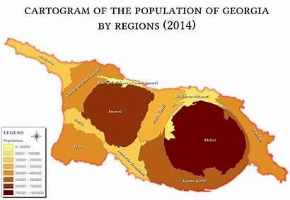 Georgia Country Demographics Wikipedia Population Regions Cartogram