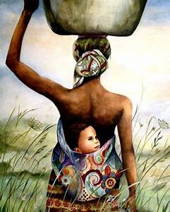 Mother and child in field art print