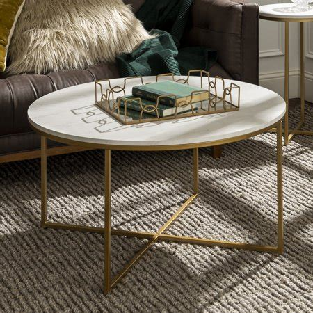 These tables are designed to occupy the center of your space. Manor Park Mid Century Modern Round Coffee Table - White Marble/Gold - Walmart.com