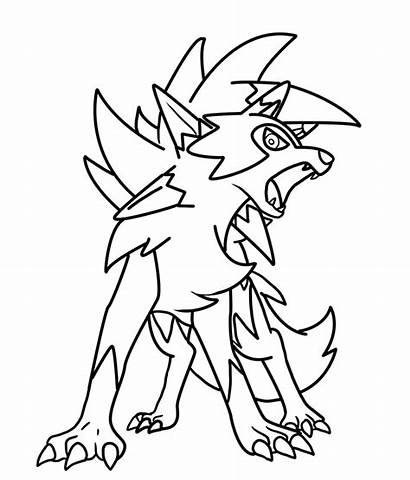 Lycanroc Dusk Coloring Pages Form Template Sketch
