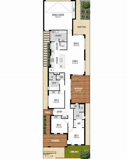 Narrow Lot Floor Plan Plans Garage Single