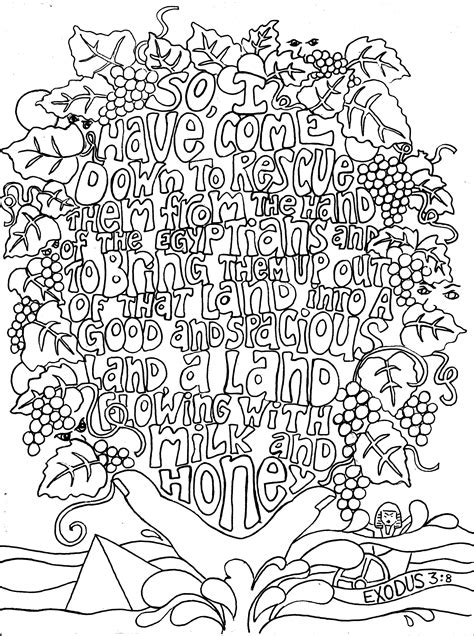 exodus  adult colouring  sheets  bible verses