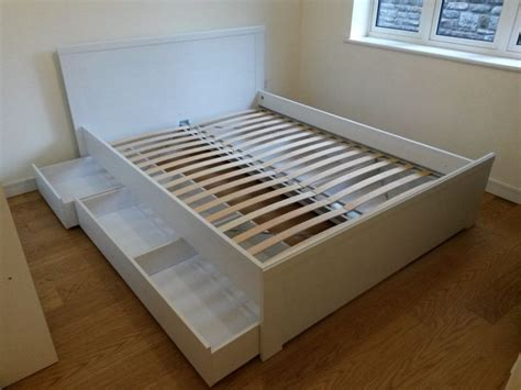 ikea brusali double bed   bed storage drawers