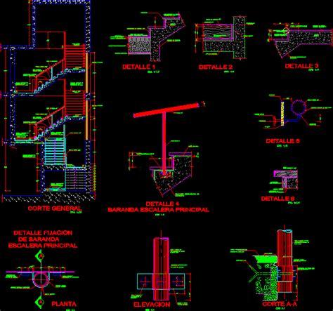 ferro concrete stair details dwg detail  autocad