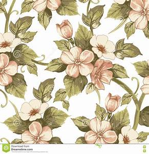 Realistic Isolated Apple Flowers Pattern. Vintage Baroque ...