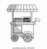 Vector Truck Shutterstock Cart Coffee Carnival Icon Illustration Kiosk Candy Cotton sketch template