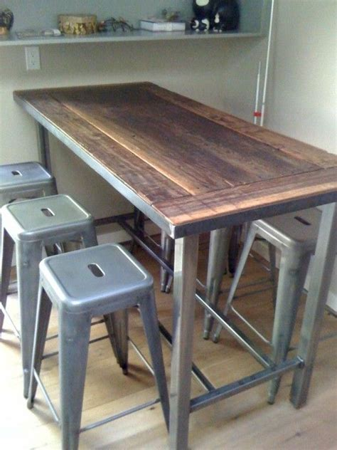 metal kitchen island tables reeclaimed wood table would love a 30 quot height version with similar metal legs for the new