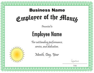 Employee Of The Month Certificate Template by Employee Of The Month Certificate Template Customize The