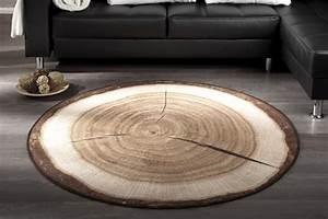 Teppiche Rund 200 : dekorativer design teppich wood 200 cm rund baumstamm optik riess ambiente onlineshop ~ Markanthonyermac.com Haus und Dekorationen