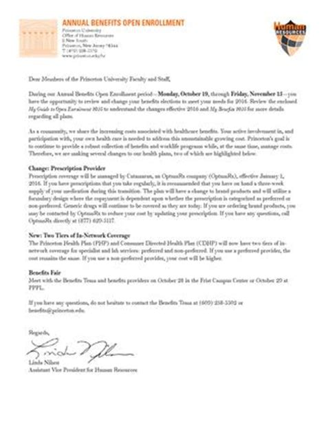 open enrollment cover letter for 2016 by princeton
