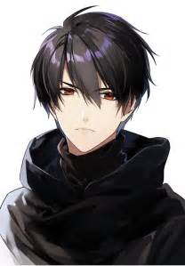 Anime Guy with Red Eyes Black Hair