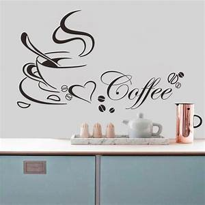 Free shipping coffee cup vinyl quote removable kitchen