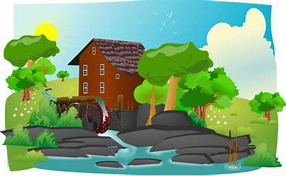 Clip Clipart Mill Water Watermill Landscape Place