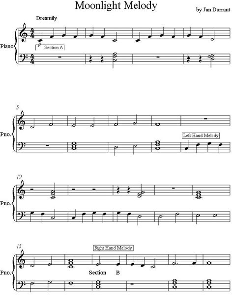 Find and print professionally arranged piano sheet music for beginner/level 1 through easy/level 5 piano. Moonlight Melody Easy PIano Sheet Music for Beginners