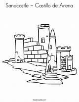 Coloring Sandcastle Sand Castillo Play Arena Castle Let Worksheet Built Cursive Lets Outline Twistynoodle Tracing California Usa Login Favorites Noodle sketch template