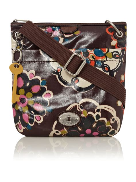 fossil vintage keeper crossbody bag  brown multi coloured lyst